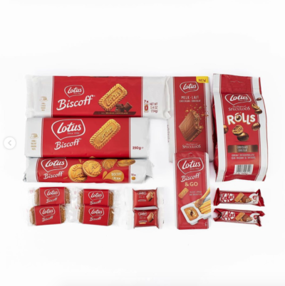 contents of the Biscoff hamper