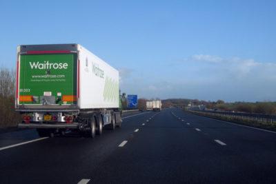 Waitrose lorry on motorway