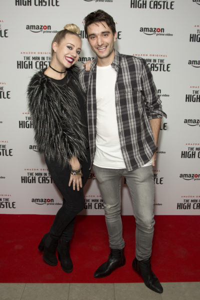 Tom Parker and wife Kelsey pose on the red carpet