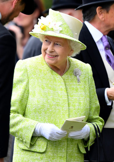 The Queen in green at Royal Ascot