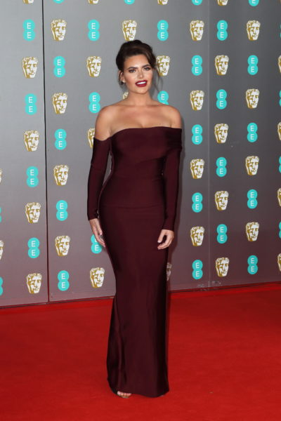 Megan Barton Hanson looking lovely in an aubergine dress
