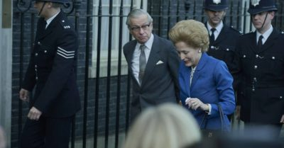 PM Thatcher walks into No 10 in The Crown