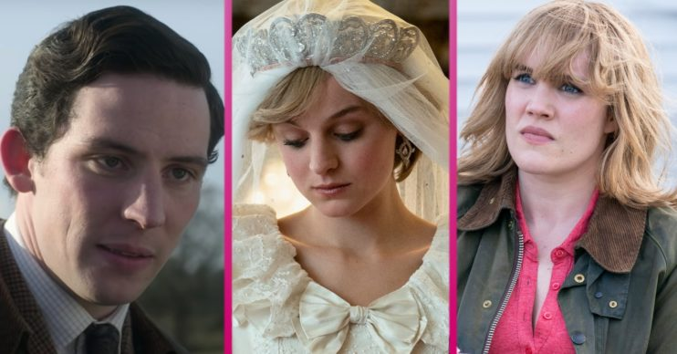 The Crown's Josh O'Connor as Charles, Emma Corrin as Diana, Emerald Fennell as Camilla
