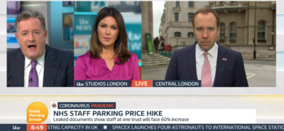 Matt Hancock appears on GMB with Piers morgan and Susanna Reid