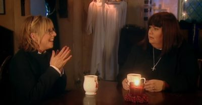Emma Chambers and Dawn French share a scene in The Vicar of Dibley