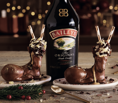 Chocolate reindeers filled with Baileys
