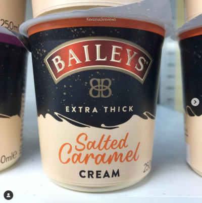 Tub of Baileys salted caramel cream