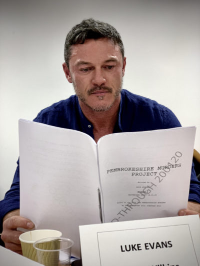 Luke Evans reading through script of Pembrokeshire Murders