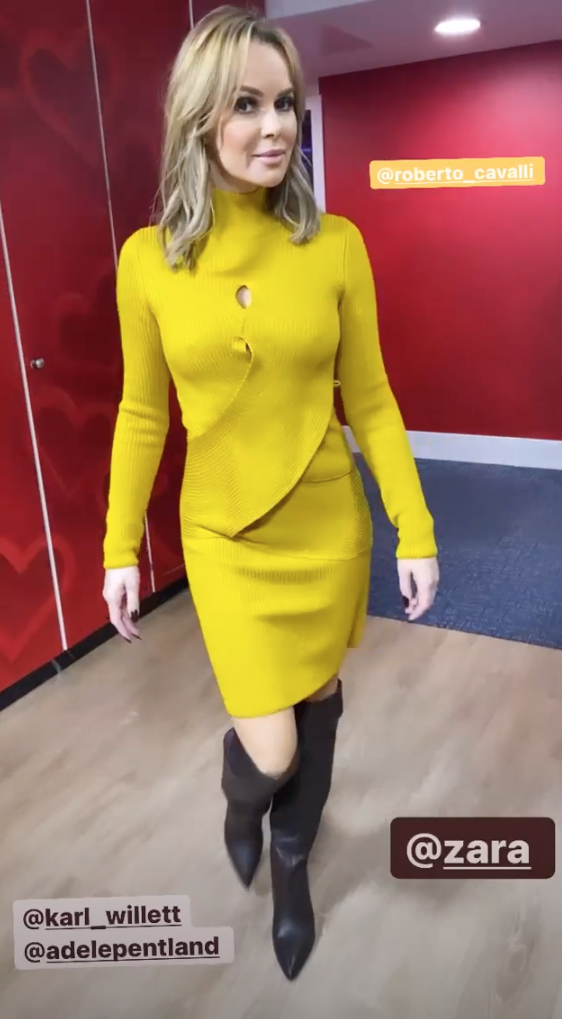 Amanda Holden catches the eye in bold yellow dress and