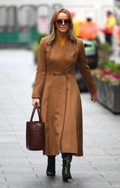 Amanda Holden in a brown coat