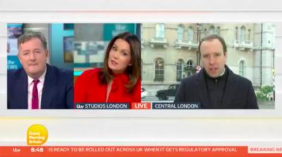 Piers Morgan and Susanna Reid interview Matt Hancock on GMB