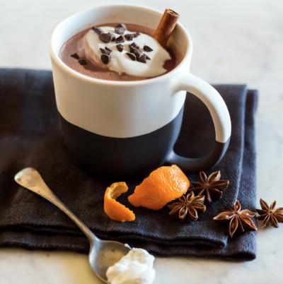 mug of hot chocolate with orange rind