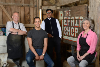 The Repair Shop series five with Steve Fletcher, Will Kirk, Jay Blades and Suzie Fletcher (Credit: BBC One)