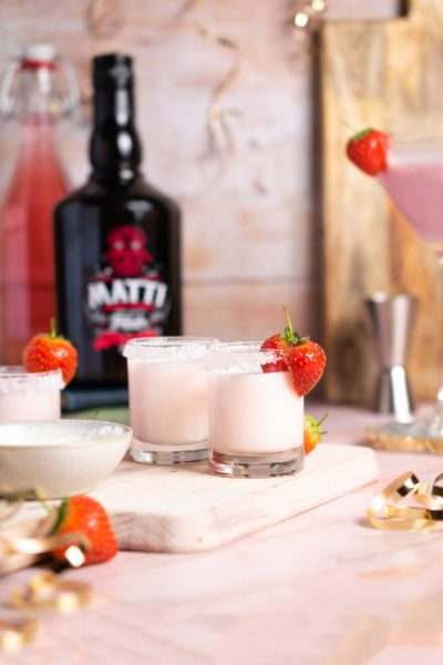 glasses of strawberry cream liqueur