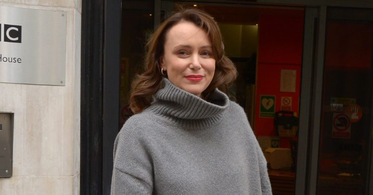 Keeley Hawes outside BBC Building