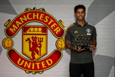 Marcus Rashford accepts the 2020 This is Manchester Awards Supernova award (Credit: TIMA)