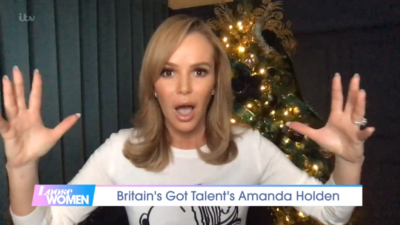 Amanda Holden chatting about Simon Cowell and his bike accident recovery on Loose Women