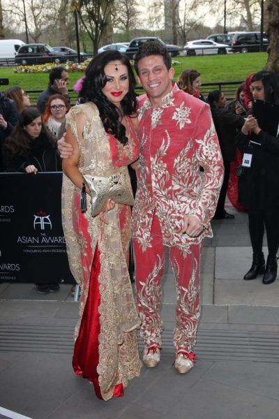 Alex reid and nikki on the red carpet