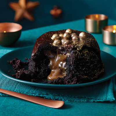 lifestyle shot of melt in the. middle christmas pudding