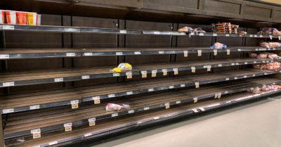 panic buying christmas empty shelves