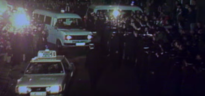 The crowds packed the police station when Sutcliffe was brought in