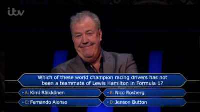 Jeremy Clarkson was loving Piers Morgan losing on Who Wants To be A Millionaire