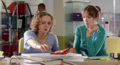 Katherine Parkinson appeared with Amanda Abbington in the Maltesers adverts