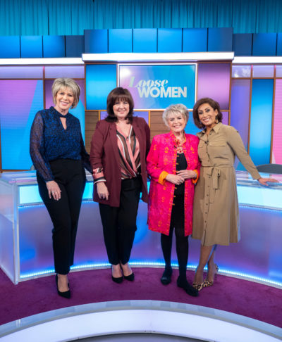 Coleen with her Loose Women gals (Credit: ITV1) LOOSE WOMEN Weekdays on ITV Pictured: Ruth Langsford, Coleen Nolan, Gloria Hunniford and Saira Khan Photographer Ken McKay (C) ITV For further information please contact Peter Gray 0207 157 3046 peter.gray@itv.com This photograph is © ITV and can only be reproduced for editorial purposes directly in connection with the programme This Morning or ITV. Once made available by the ITV Picture Desk, this photograph can be reproduced once only up until the Transmission date and no reproduction fee will be charged. Any subsequent usage may incur a fee. This photograph must not be syndicated to any other publication or website, or permanently archived, without the express written permission of ITV Picture Desk. Full Terms and conditions are available on the website https://www.itv.com/presscentre/itvpictures/terms