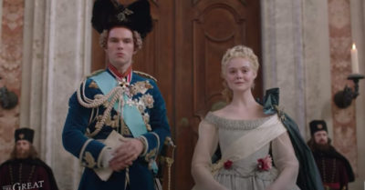 nicholas hoult and elle fanning in the great on channel 4