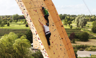 Bradley and barney on a climbing wall