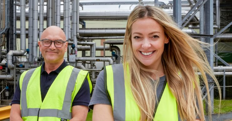 Cherry Healey and Gregg Wallace in promo shot for Inside the Factory