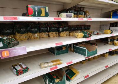 supermarket shelves ransacked