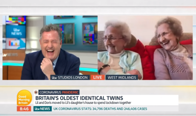 Piers Morgan on GMB with Britain's oldest twins