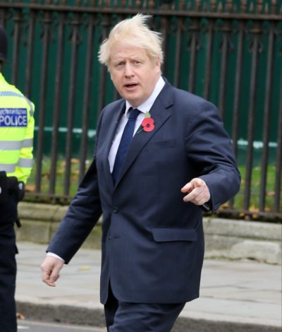 boris johnson wearing a poppy