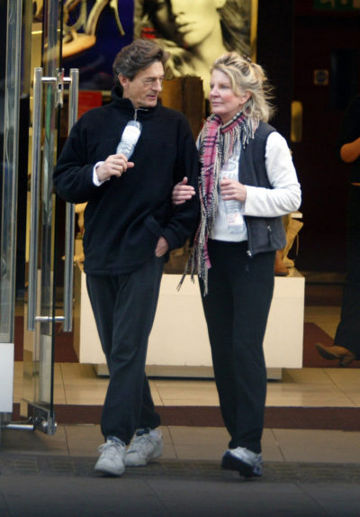 Nigel Havers And Georgiana Bronfman Are Seen Out Arm In Arm Shopping In Kensington.