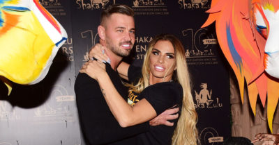 carl woods and katie price on the red carpet