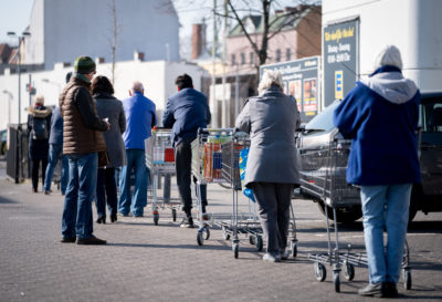 queues outside supermarkets