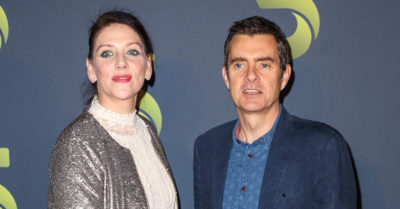 paul higgins and neve mcintosh at a premiere