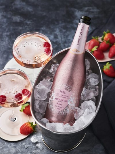 bottle of pink prosecco