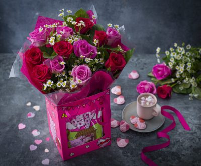 pink roses and Percy sweets gift
