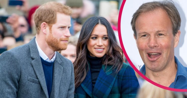 Prince Harry and Meghan, and Tom Bradby