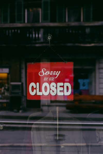 closed sign on shop