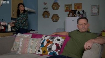 Billy Mitchell argues with Honey in EastEnders