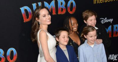 Dumbo Premiere jolie with children