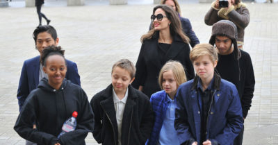 Angelina Jolie and her kids visit the Louvre