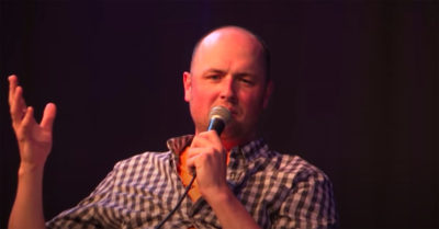 tom parry during a live podcast