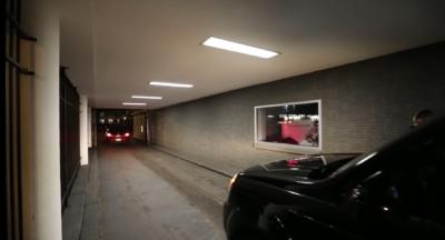 The drive-thru in the Bernard funeral home