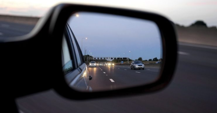 Stock photo of rear view mirror