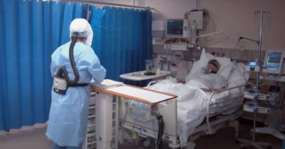 A hospital patient suffers with Coronavirus