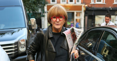 Anne Robinson arriving at BBC Radio Two studios to appear on Chris Evans Breakfast show - London